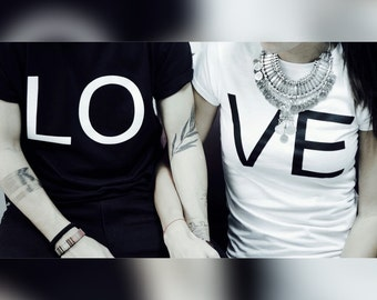 "Couple T-shirts set ""LO VE Ying Yang"" set of 2 couple T-shirts LOVE Ying Yang Tshirt set of 2 couple shirts"