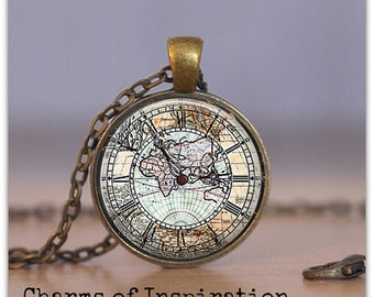 Map Necklace Map Keychain Jewelry Clock Map Necklace Watch Map Jewelry Map Keychain Map Keyfob Gift for Traveler Gifts *NOT working clock*