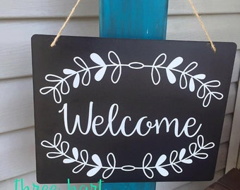 Hanging welcome sign, front door welcome sign, chalkboard welcome