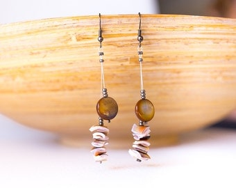 Brown shell earrings, brown pink seashell earrings, long earrings – mother of pearls – statement earrings, ocean earrings, beach earrings