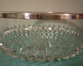 Vintage Pressed Glass Bowl with Silver Rim Raised Diamond Pattern Made in England