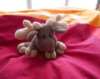 Doudou Caribou / Moose, crochet Amigurumi Plush / Toy
