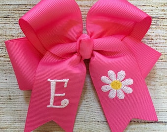 You Choose Colors and Font...Personalized Medium Hair Bow with Flower Design…Monogrammed Hairbow with Daisy