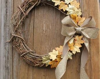 Fall Wreath, Gold Leaf Wreath, Rustic Wreath, Autumn Wreath, Gold Wreath, Fall Decor, Fall Leaf Wreath, Front Door Wreath, Autumn Decor
