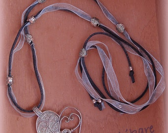 Outlet FREE Shipping Heart Nena-Suede grey-blue Organza-big heart silver plated with baby or baby-outlet