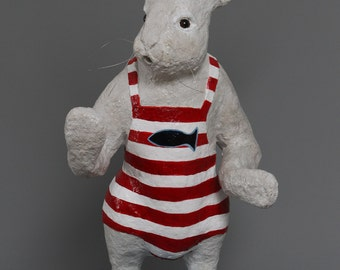 Bunny paper mache with her swimsuit with stripes