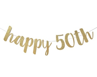 50th Birthday Decorations | 50th Birthday Banner | Happy Birthday Banner | 50th Birthday Party | Fifty and Fabulous | Fiftieth | 50 Birthday