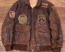 "Mens Vintage Avirex Brown Leather Military Flight Jacket Mens L 44"" R2876"