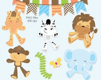 Jungle clipart, Baby Animal clipart, Monkey clipart, Elephant clipart, Giraffe clipart, Safari Clipart, Animals, Commercial License Included