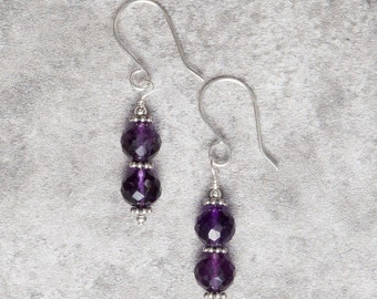 Amethyst and Sterling Silver Drop Earrings (041)