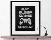"Gamer Wall Art ""Eat Sleep Game Repeat"" 8x10 or 11x14 Matted Options"