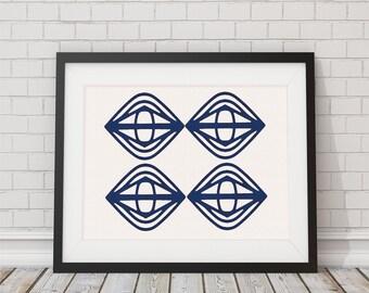 Geometric Shibori Inspired Indigo Blue Pattern Print 8x10 or 11x14