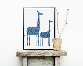 Blue Giraffes Print 8x10 or 11x14 with Matte Options