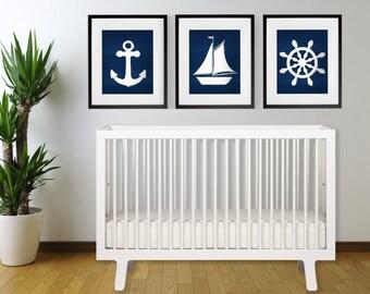 Set of 3 Indigo Blue Nautical Print Set ANCHOR, SAILBOAT, ships wheel 8x10 , 11x14 or 13X19 Coastal Boho