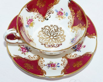 Paragon Vintage Fine Bone China Tea Cup and Saucer Gold Burgundy - 469