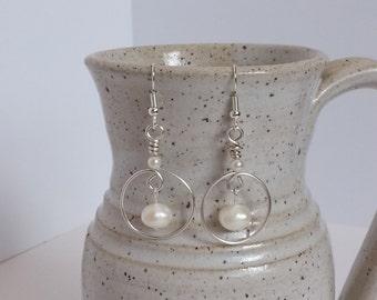 Freshwater Pearl and Silver Hoop Earrings Wedding Earrings Beach Jewelry