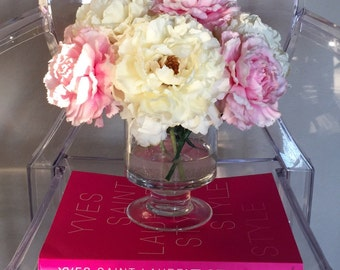 Fine silk and real touch peony and carnation flower arrangement
