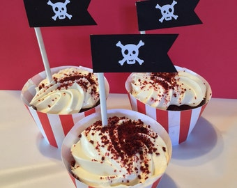 Pirate Happy Birthday Boy or Girl Cupcake Sticks and Wrappers