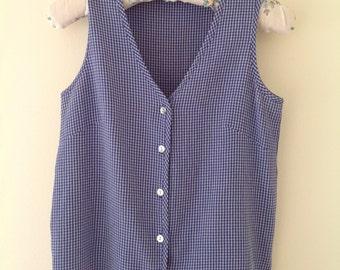 SALE!!! Vintage blue gingham ladies shirt, blue white check blouse, western shirt, summer top