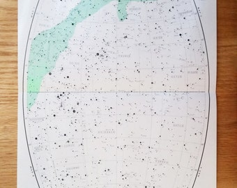 "Star Map - Original Vintage Print - Astrology - Astronomy - Original Print - 16 1/2"" x 11"""