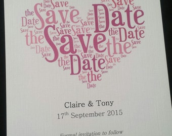 Wedding Heart Design Save the Date / Invite / Thank You Postcard / Card