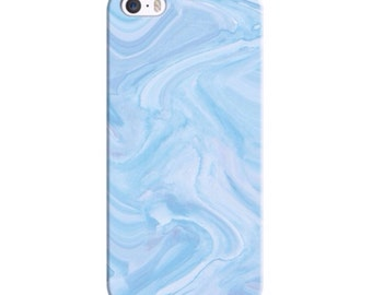 Blue iPhone Case Waves Water Cover Cases Silicone Pattern 5 / 5S / 6 / 6S KYOUSTUFF