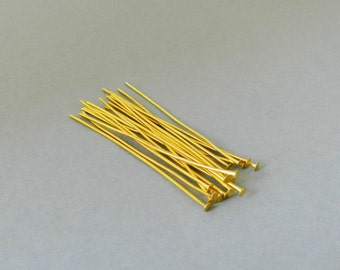 50 Gold Headpins 5 cm, 0,7 mm thick.Gold Head Pins Gold Plated Findings Golden Color