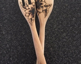 Wood burnt pyrography salad servers with flowers and leaves