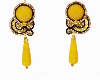 Soutache Lemon Jade Earrings