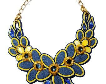 Denim Flowers Necklace