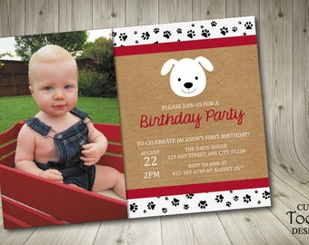 Puppy Birthday Invitation - Puppy First Birthday Party Invitation - Printable Dog 1st Birthday Invite - Printable Banners Included