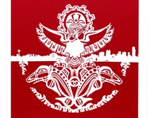 Northwest Indian Art and the Seattle Skyline Paper Cut Art