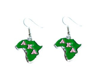 Alpha Kappa Alpha Sorority Africa Greek Letter Earrings/AKA-201