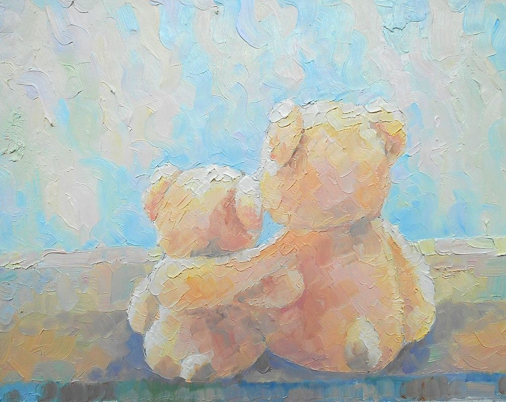 original oil painting gift for baby miniature teddy bear