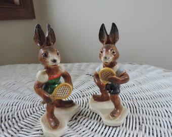 Vintage Goebel Rabbits playing tennis