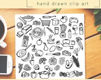 MEGA-Pack / Hand Drawn Clip Art / PNG files / Photoshop brushes / Digital Download / Kitchen / Food / Dessert / Vegetables / Cooking Doodle