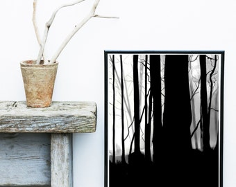 Scandinavian Art, Forest Print, Tree Art, Abstract Art Print, Art Print, Giclee print, Wall Art,  Poster,  Abstract Art