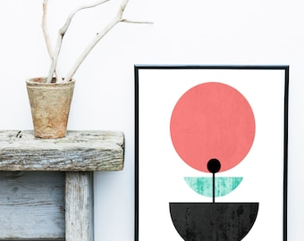 Scandinavian Art Print, Flower Print, Abstract Art Print, Mid Century Modern, Art Print,  Giclee print, Modern Wall Art, Wall decor