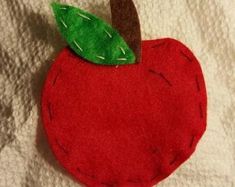 Red Felt Apple Clip or Headband