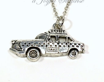Taxi Necklace, Silver New York Cab Jewelry, New Yorker Gift Pewter Charm I heart NY Big Apple Pendant Travel Men Necklace cabby Vehicle Man