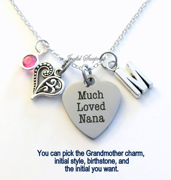 How Much Are Charm Bracelets: Much Loved Nana Necklace Nana Jewelry Grandmother Gift For