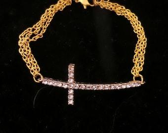 Gold Sideway Cross