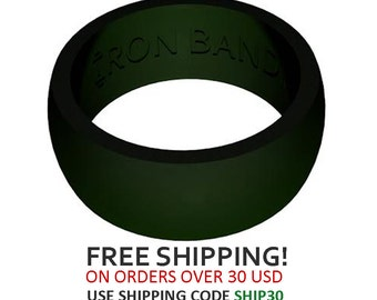 Iron Band Silicone Wedding Ring For An Active Lifestyle - Hunter Green
