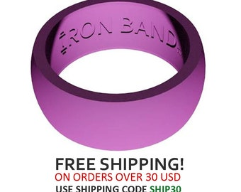 Iron Band Silicone Wedding Ring For An Active Lifestyle - Purple