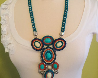 Unique Handmade Turquoise, Teal Blue, Orange Crocheted and Beaded Statement Pendent Necklace