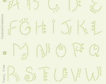 """Fancy Free Alphabet Stencil, 8-1/2"""" x 11"""""""