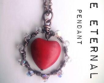 LOVE ETERNAL Red Heart Valentines Pendant