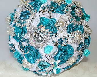 Turquoise Wedding Brooch Bouquet, White and Silver Wedding Bouquet, Bridal Bouquet, Jewelry Bouquet, Teal Bouquet,Crystal Rhinestone Bouquet