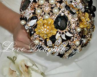 Brooch Bouquet Black Gold Wedding Bouquet Bridal Bouquet Jewelry Bouquet Gothic Wedding Bouquet Keepsake Quinceanera Alternative Bouquet