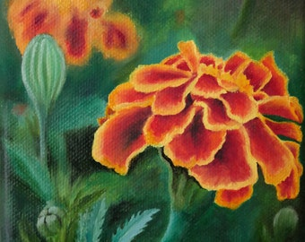 "ORIGINAL Oil Painting, ""Marigold"", Hand Painted Flowers, Art on Canvas - Signed by Artist"